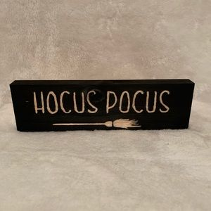 Hand carved Hocus Pocus sign